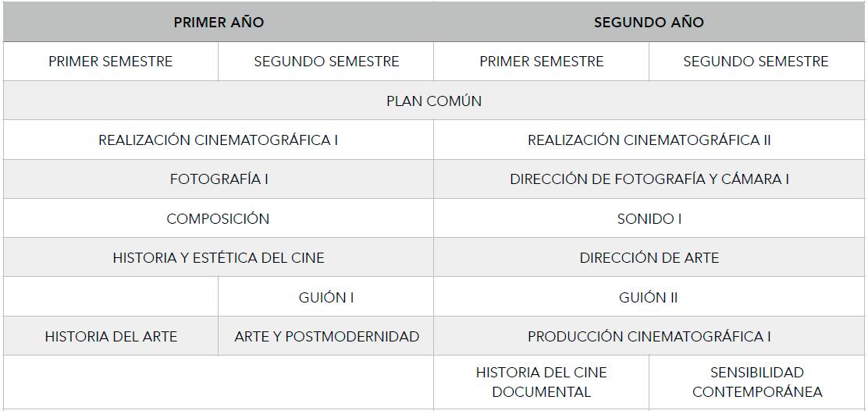 Malla Curricular Carrera Cine 1 y 2 Año