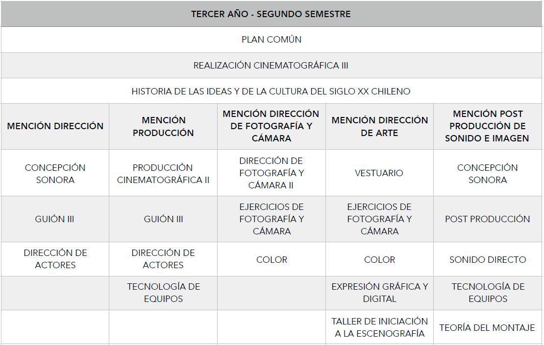 Malla Curricular Carrera Cine 3 año - segundo semestre